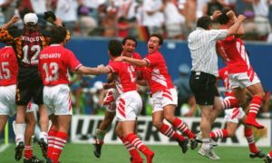 10 JUL 1994:  BULGARIA CELEBRATES ITS 2-1 VICTORY OVER GERMANY IN THE QUARTER FINALS OF THE 1994 WORLD CUP AT GIANTS STADIUM IN THE MEADOWLANDS, NEW JERSEY. Mandatory Credit: David Cannon/ALLSPORT